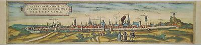 Lüneburg  seltener altkolorierter Braun und  Hogenberg Kupferstich 1580