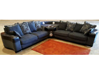 Large Corner Sofa With Speakers - Grey & Black. Can deliver
