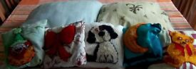 Seven different cushions-designs are various, moon, teddy, dog, clown, bow and plain.