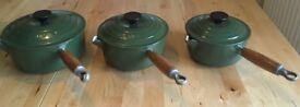 Le Creuset set of cast iron saucepans