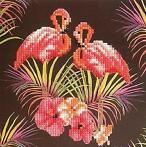 Crystal Card kit diamond painting Pink Flamingoes 18 x 18 cm