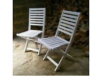 genuine Vintage Pair of Folding Former Cruise Liner Ships Deck Chairs
