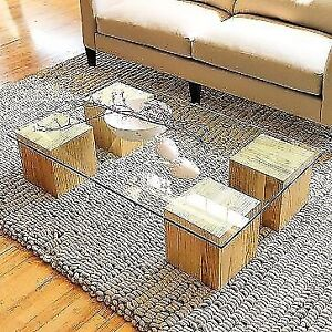 WEST ELM - gorgeous raw wood and glass coffee table