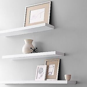 FLOATING WOOD WALL SHELF, WHITE $10, FLOATING SHELF BLACK $12