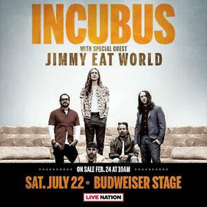 Incubus & Jimmy Eat World Tickets - July 22 - Section 203 Row A