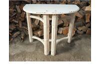Large Vintage Shabby Chic Halfmoon Pedestal Console Hall Table