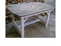 Large Heavy Duty Vintage Solid Wood Outdoor Garden Table