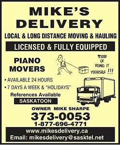 PIANO MOVERS 306 373 0053 Safes appliances furniture 24hrs