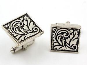Men's antiqued Silver Sparta Square Cufflinks