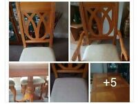 Extendable table and 6 chairs (4 chairs and 2 carvers)