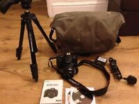 canon 650d with manfrotto case and tripod