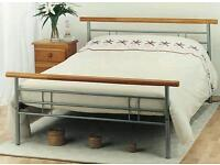 King size bed frame - wood and metal