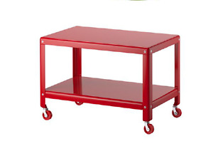 Coffee Table - red metal with wheels