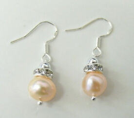 Pair of Freshwater Pearl Bead With Crystal Spacer Earrings Pink Colour, - JTY515