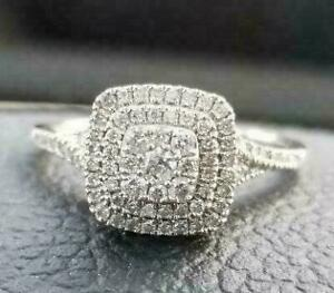 Michael Hill Double Halo Natural Diamond Engagement Ring (Size 8) in White Gold with Excellent Condition