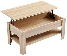 Light wood effect coffee table with shelf and draw