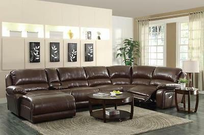 BIG & COMFY BROWN LEATHER DOUBLE 2 RECLINER RECLINING SOFA CHAISE SECTIONAL