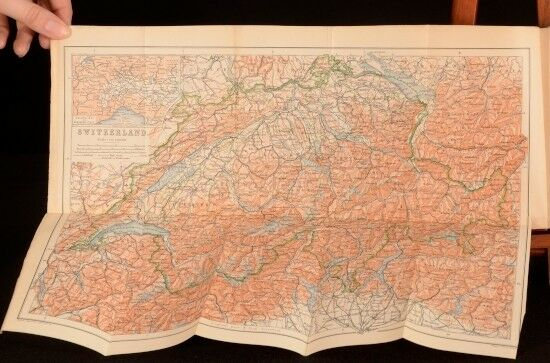 1895 Switzerland and The Adjacent Portions Italy Savoy and Tyrol Baedeker Maps