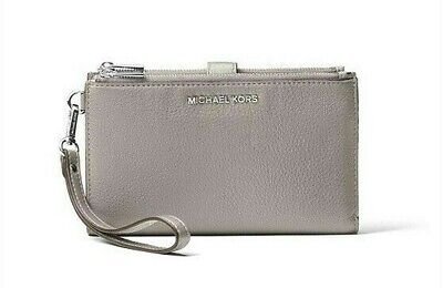 Michael Kors Adele Double Zip Grey Leather Smartphone Wallet Wristlet Purse
