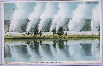 Geysers In Eruption, Upper Geyser Basin, Yellowstone Park, PC #1219, ca 1909