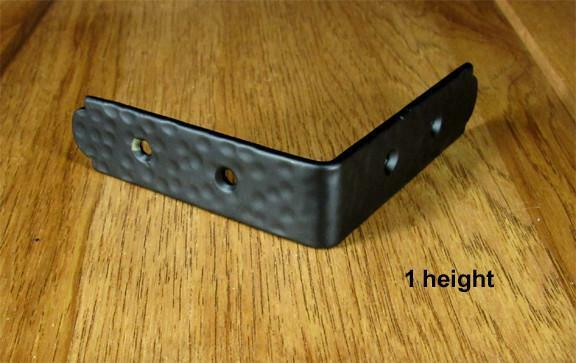 "Rustic, hammered Table Edge Corner Bracket - 1"" high  (incl Rustic Head screws)"