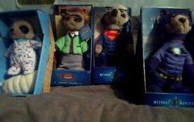 4x Collectable Meerkat Plushies - individually priced
