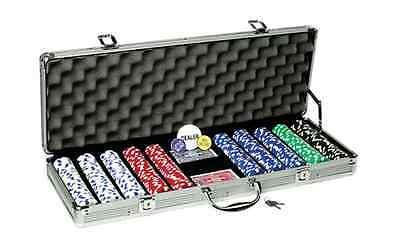 Fat Cat 11.5 Gram Texas Hold 'em Poker Chip Set with 500 Striped Dice Chips 500 Striped Dice Poker Chip