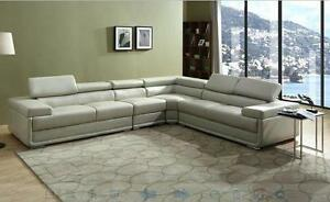 LORD SELKIRK FURNITURE - Zenith - 4PC Sectional in Light Grey Leather Gel Material for $1699.00