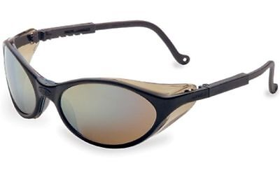 Uvex Bandit Safety Glasses With Black Frame And Gold Mirror Lens