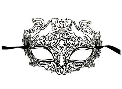 Mask from Venice - Luxury Pegase Venetian Lace Metal Black Rhinestone Diamante