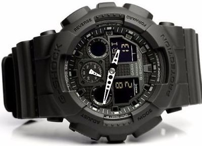 New Casio G-SHOCK BLACK OPS Analog XLARGE BLACK GA100-1A1 Watch NWT