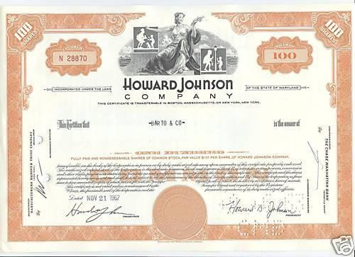 Howard johnson company bright orange 1960s great logo!