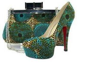 African Multi-Color Wax Print Womens Heels with Matching Animal Print Clutch Bag