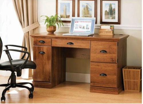Details about Desk Home Office Executive Furniture Oak Finish Computer