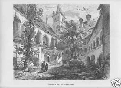 Stift Göss Leoben Kloster Steiermark HOLZSTICH von 1880  Richard Püttner