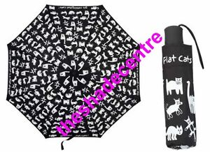 FLAT CATS Rain Umbrella SHELTA Folding Mini Maxi 98cm Diameter UPF25
