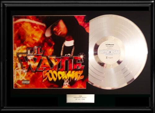 LIL WAYNE RARE FRAMED LP SILVER PLATINUM TONE VINYL RECORD FRAME NOT RIAA AWARD