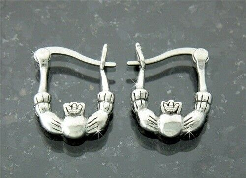 Classical Small Double Sided Stainless Steel Claddagh Hoop Earrings