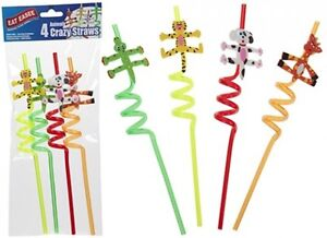 Pack Of 4 x Animal Crazy Curly Straws Coloured Twisty Kids Party Novelty
