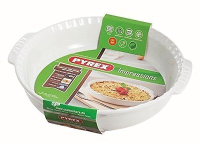 Pyrex 24 cm Round Stoneware Impressions Pie Dish with Handles White  ONLY £7.99