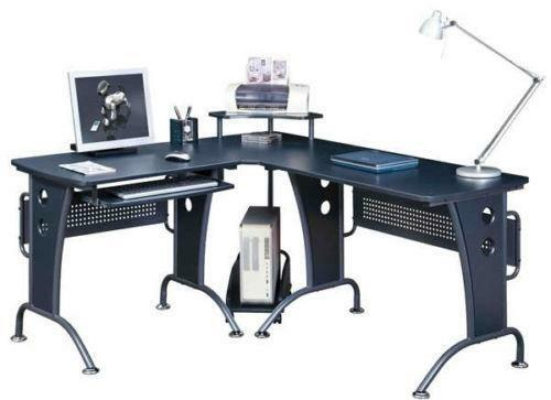 Corner Computer Table Designs: Black Corner Computer Desk