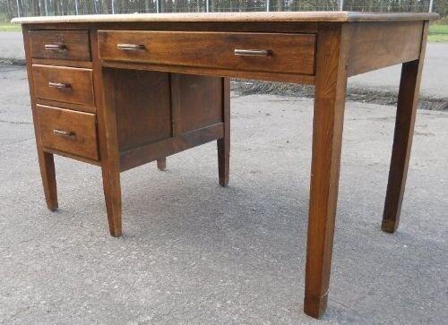1920s original antique oak kneehole writing desk with drawers - 1920s Original Antique Oak Kneehole Writing Desk With Drawers In