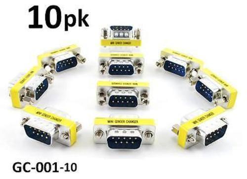 10-PACK DB9 Serial Male/Male Slim Type Gender Changer Coupler Adapter, GC-001