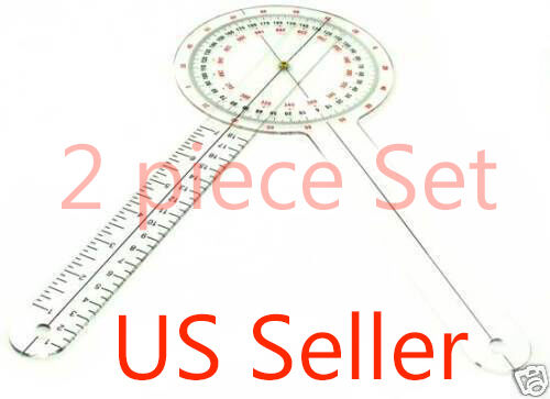 """NEW! 2 - 12"""" inch Goniometer Physical Therapy - 2 piece lot - US Seller"""
