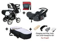 Junior pram pushchair stroller buggy 3 in1 from Baby-Merc + car seat included! (Black + Red)