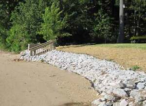 Material for low-cost shoreline retaining wall