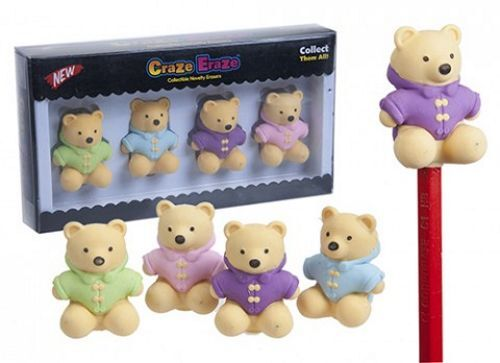 4 Yellow Teddy Bear Eraser Pencil Toppers Duffle Coat Collectible Novelty Rubber