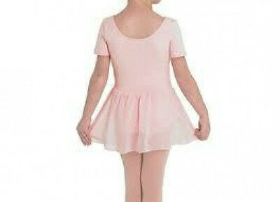 Bloch CL5402 Girl's 12 (Large) Pink Short Sleeve Leotard Footed Tights And Skirt