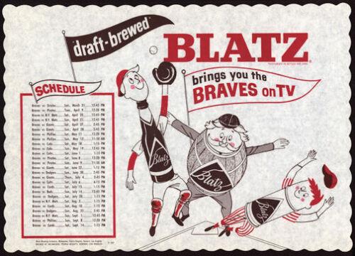 "1963 Vintage Blatz Beer Advertising Placemat ""1963 Milwaukee Braves TV Schedule"""