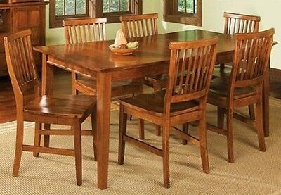 - 7 Pc Oak Dining Room Set Wood Kitchen Furniture Table & 6 Chairs Dinette Sets